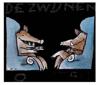 Logo van De  Zwijnensociëteit, cartoon: Len Munnik